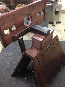 pillory and stock attachment for spanking bench (side view)